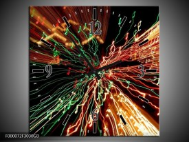 Wandklok op Glas Abstract | Kleur: Groen, Oranje, Geel | F000072CGD