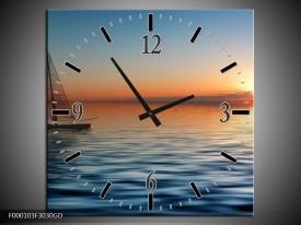 Wandklok op Glas Zonsondergang | Kleur: Blauw, Geel, Oranje | F000103CGD