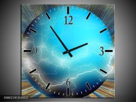 Wandklok op Glas Design | Kleur: Blauw, Bruin, Grijs | F000119CGD