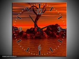 Wandklok op Glas Stenen | Kleur: Rood, Zwart | F000149CGD