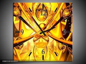 Wandklok op Glas Abstract | Kleur: Geel, Goud, Bruin | F000159CGD