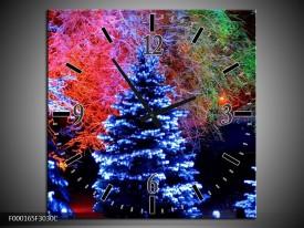 Wandklok op Canvas Kerstboom   Kleur: Blauw, Groen, Rood   F000165C