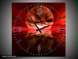 Wandklok op Glas Maan   Kleur: Rood, Zwart, Bruin   F000176CGD