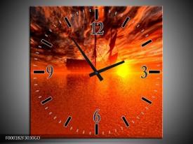 Wandklok op Glas Boot | Kleur: Rood, Oranje, Geel | F000182CGD