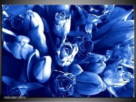 Glas schilderij Bloemen | Blauw, Wit