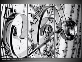 Canvas ART schilderij Muziek | Wit, Grijs, Zwart | 120x80cm 3Luik