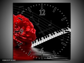 Wandklok op Canvas Roos | Kleur: Rood, Wit, Zwart | F000207C