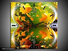 Wandklok op Glas Spiegel   Kleur: Groen, Geel, Oranje   F000212CGD