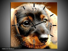 Wandklok op Glas Hond | Kleur: Bruin, Geel, Zwart | F000215CGD
