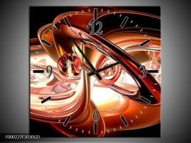 Wandklok op Glas Abstract | Kleur: Wit, Bruin, Zwart | F000227CGD