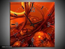 Wandklok op Canvas Abstract | Kleur: Geel, Rood, Goud | F000235C