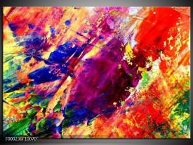 Glas schilderij Abstract | Paars, Blauw, Rood