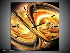 Wandklok op Glas Abstract   Kleur: Goud, Geel, Zwart   F000247CGD