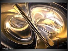 Glas schilderij Abstract | Goud, Zilver, Geel