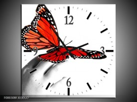 Wandklok op Glas Vlinder | Kleur: Rood, Wit, Zwart | F000308CGD