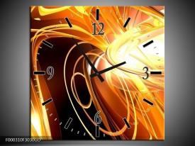 Wandklok op Glas Abstract | Kleur: Geel, Goud, Bruin | F000310CGD