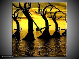 Wandklok op Canvas Zonsondergang | Kleur: Geel, Zwart, Bruin | F000327C
