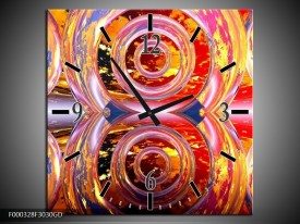 Wandklok op Glas Cirkel | Kleur: Geel, Rood, Grijs | F000328CGD