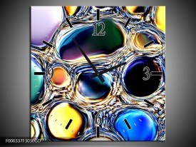 Wandklok op Glas Cirkels   Kleur: Paars, Blauw, Geel   F000337CGD