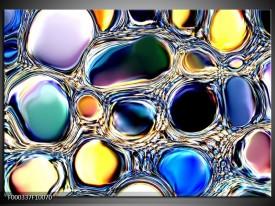 Glas schilderij Cirkels | Paars, Blauw, Geel