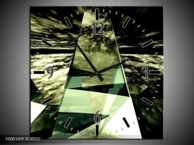 Wandklok op Glas Abstract | Kleur: Groen, Grijs, Wit | F000349CGD
