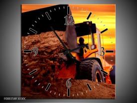 Wandklok op Canvas Tractor | Kleur: Bruin, Geel, Oranje | F000358C