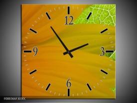Wandklok op Canvas Bloem | Kleur: Geel, Bruin, Groen | F000366C