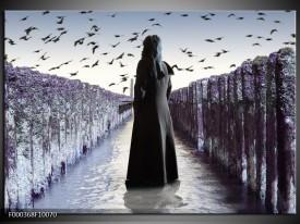 Foto canvas schilderij Vrouw | Zwart, Grijs, Wit