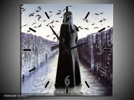 Wandklok op Glas Vrouw | Kleur: Zwart, Grijs, Wit | F000368CGD