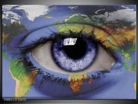 Glas schilderij Oog   Blauw, Groen, Geel