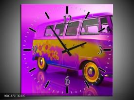 Wandklok op Canvas Auto | Kleur: Paars, Geel, Zwart | F000377C