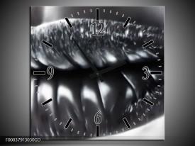 Wandklok op Glas Lippen | Kleur: Grijs, Zilver, Wit | F000379CGD