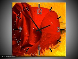 Wandklok op Glas Roos   Kleur: Rood, Geel, Goud   F000394CGD