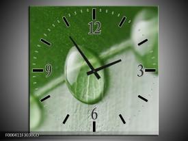 Wandklok op Glas Druppels | Kleur: Groen, Wit | F000411CGD