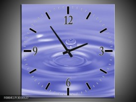 Wandklok op Glas Druppels   Kleur: Blauw, Wit   F000417CGD