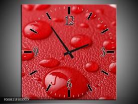 Wandklok op Glas Druppels | Kleur: Rood, Wit | F000421CGD