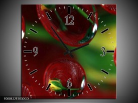 Wandklok op Glas Druppels   Kleur: Bruin, Groen, Geel   F000422CGD