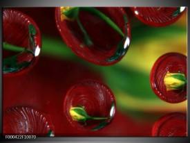 Glas schilderij Druppels   Bruin, Groen, Geel