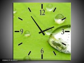 Wandklok op Glas Druppels | Kleur: Groen, Wit, Grijs | F000427CGD