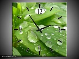 Wandklok op Glas Druppels | Kleur: Groen, Wit, Grijs | F000428CGD
