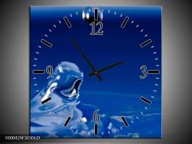 Wandklok op Glas Druppels | Kleur: Blauw, Wit, Zwart | F000429CGD