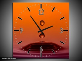 Wandklok op Glas Druppels | Kleur: Bruin, Oranje, Zwart | F000430CGD