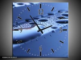 Wandklok op Glas Druppels   Kleur: Blauw, Wit   F000433CGD