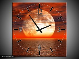 Wandklok op Canvas Zonsondergang | Kleur: Rood, Grijs, Wit | F000444C