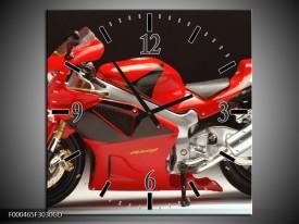 Wandklok op Glas Motor | Kleur: Rood, Zwart, Zilver | F000465CGD