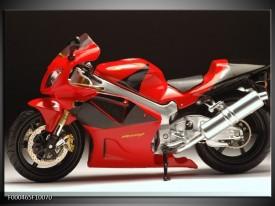 Glas schilderij Motor | Rood, Zwart, Zilver
