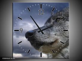 Wandklok op Canvas Wolf | Kleur: Grijs, Blauw, Wit | F000466C