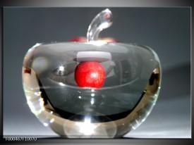 Glas schilderij Appel | Rood, Grijs, Zilver