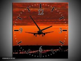 Wandklok op Canvas Vliegtuig   Kleur: Rood, Zwart, Grijs   F000481C