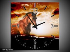 Wandklok op Canvas Paard | Kleur: Grijs, Wit, Zwart | F000483C